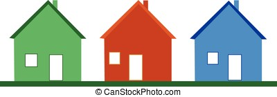 three houses - vector,three colorful houses isolated on...