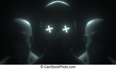 Three human head with neon in eyes, 3d rendering. Computer ...