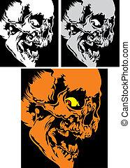 human skull - three human skulls on the black background