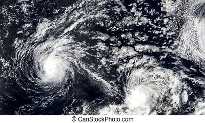 Three Hurricanes, Storms tornado, satellite view. Some...