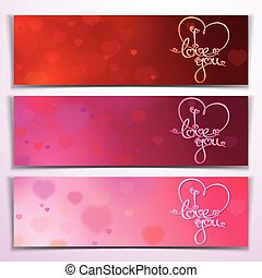 Three I Love You Banners - Red Pink