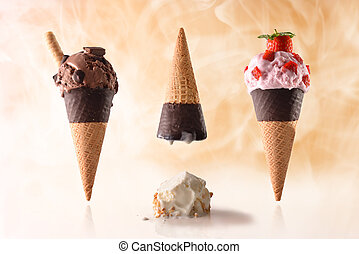 Three ice cream cone different tastes summer fun