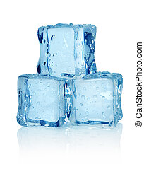 Three ice cubes isolated on a white background
