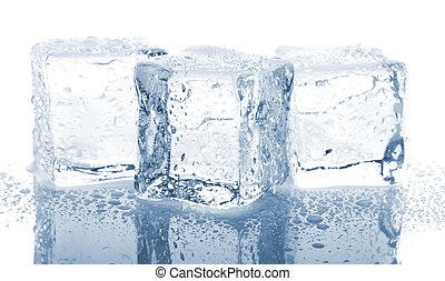 Three ice cubes with water drops on glass table