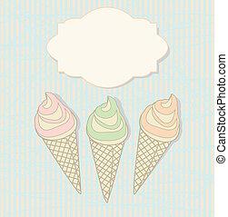 Three icecream cones with a blank label