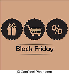 three icons for black friday - three brown silhouettes for...