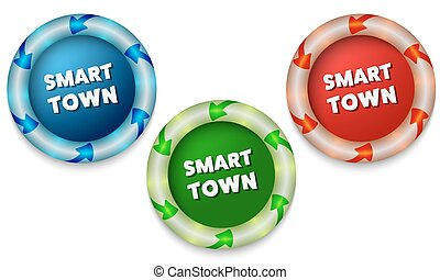 Three icons with color back light and the words smart town