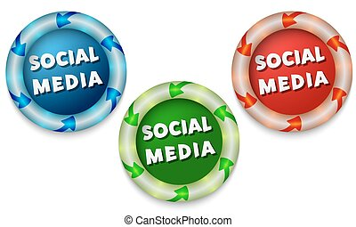 Three icons with color back light and the words social media
