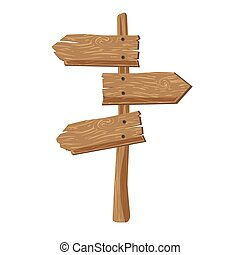 Three indexes showing in different directions attached on wooden stick