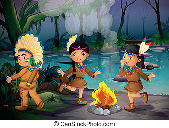 Three Indian kids inside the forest