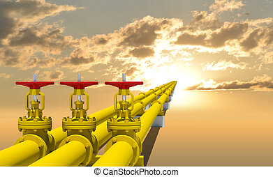 Three industrial pipes for gas transmission. Against...