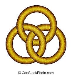 Three interlocking gold rings - Celtic knot - Glitter...