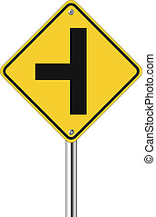 three intersection traffic sign