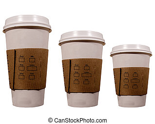 three isolated coffee cups
