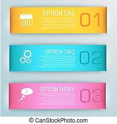 Three Isolated Colored Banner Set
