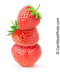 Three isolated strawberries on top of each other
