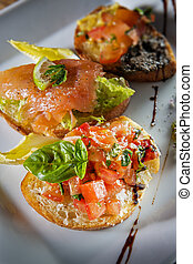 Three italian bruschetta