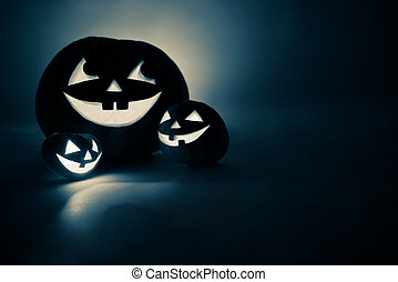 Three jack-o-Lantern in blue