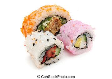 Three Japanese Rice Rolls (Sushi) - Three Japanese rice roll...