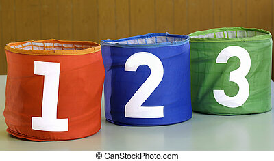 jars for toys with numbers one two three
