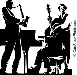three jazzmans - two dark silhouets isolated on the white...