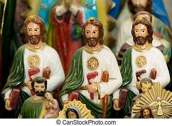 Three Jesus Statues - Three statues of jesus Christ on a...