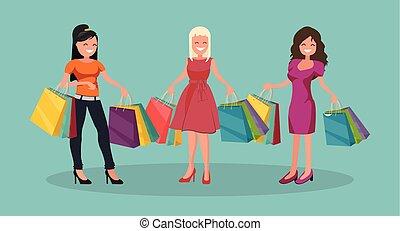 Three joyful women with shopping. Big Sale.