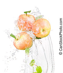 Three juicy red apple in water splash isolated on a white background