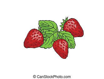 three juicy strawberries on white background