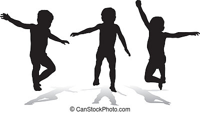 Three jumping children, illustration