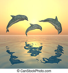 Three jumping dolphins at sunset