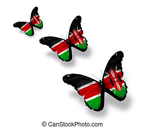 Three Kenya flag butterflies, isolated on white