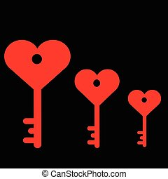 Three key from the heart on a black background