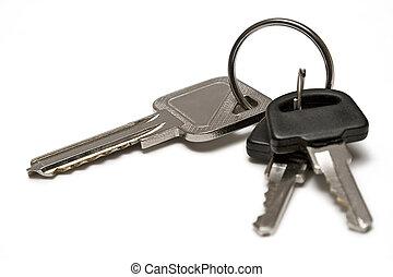 Three Keys w/ Ring - Keyring against white background.