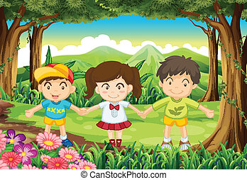 Three kids at the forest