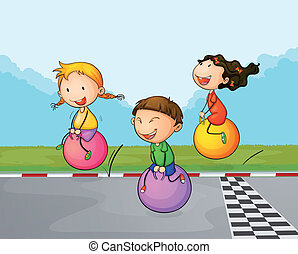 Three kids at the street with their bouncing balls