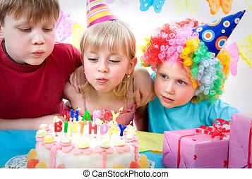 birthday party - three kids celebrating birthday party