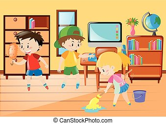 Students Cleaning Classroom Together Illustration