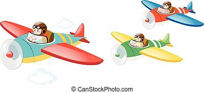 Three kids flying jet plane