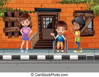Three kids hanging out on the street illustration