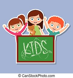 three kids happy girls and boy with chalkboard