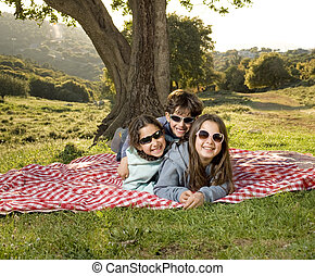 three kids having fun