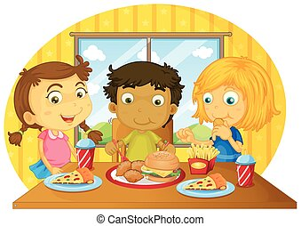Three kids having meal on table