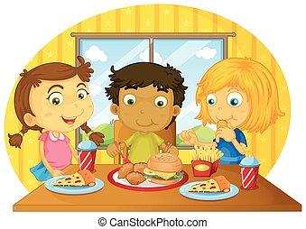 Three kids having meal on table