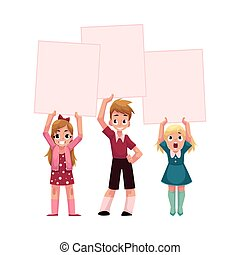 Three kids holding blank empty posters, boards over head