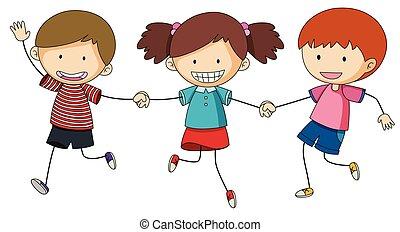 Three kids holding hands