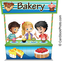 Three kids in a bakery stand with cupcakes - Illustration of...