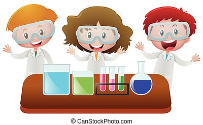 Three kids in science lab
