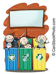 Three kids in the trashbins below the empty signboard