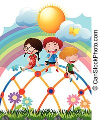 Three kids on climbing dome in the park illustration